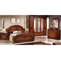 Set Dormitor JAMELIA cu Dulap 5 Usi Comoda Pat si Noptiere Ciocolata