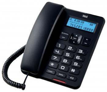 Telefon cu fir de masa cu afisaj negru CD001 Well Telefoane