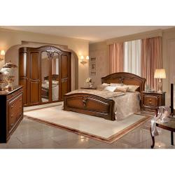 Set Dormitor VALERIA 6U cu Dulap 6 Usi Comoda Pat si Noptiere MDF Furniruit Nuc