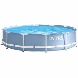 Piscina Intex Prism Frame cu cadru metalic d457 cm inaltime 107cm Sistem de filtrare si accesorii incluse Piscine