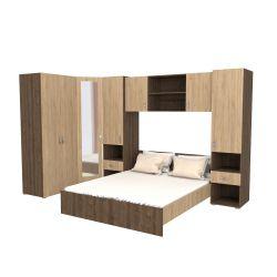 Set Dormitor Madrid Stejar Bronz/Lemn Natural