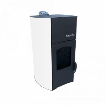 Termosemineu centrala peleti Fornello Fiamma Bianco 25 kw complet echipat pentru incalzire pompa vas expansiune automatizare telecomanda Termoseminee