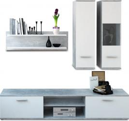 Set mobila Living 188 cm lungime beton/alb Bortis Impex