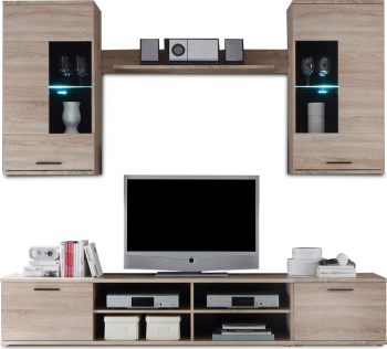 Set mobila Living Stejar Sonoma 230 cm lungime iluminare led