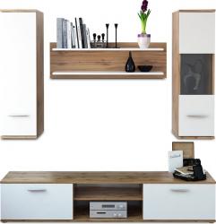 Set mobila Living stejar wotan/alb modern 188 cm lungime Bortis Impex