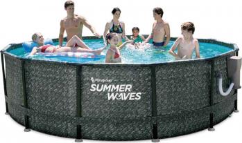 Set piscina elite rotunda cu cadru metalic 4 27 m x 1 07 cm ratan negru cu filtru skimmer Summer Waves
