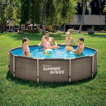 Set piscina rotunda cu cadru metalic 3 05 m x 76 cm ratan maro cu pompa filtrare Summer Waves