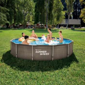 Set piscina rotunda cu cadru metalic 3 66 m x 76 cm ratan maro cu pompa filtrare Summer Waves
