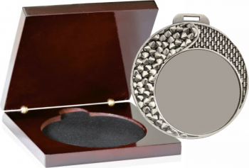 Medalie Argint Personalizata 70 mm in Cutie de Lemn de lux Cupe, trofee si medalii