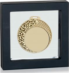 Medalie Aur Personalizata 70 mm in Suport de Prezentare de Lux Cupe, trofee si medalii