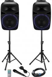 Set boxe sonorizare 2x500W 1 activ + 1 pasiv difuzoare 38 cm BT/USB/SD microfon