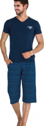 Pijama barbati maneca scurta 3750 Blue XL Pijamale barbati