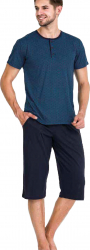 Pijama barbati maneca scurta 3752 Blue L Pijamale barbati