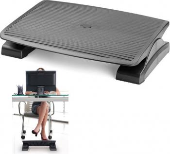 Suport ergonomic pentru picioare unghi reglabil suprafata antiderapanta 45x35cm negru Articole si accesorii birou
