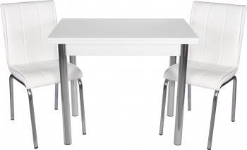 Set masa extensibila 90x60 cu 2 scaune Pedli alb Seturi mobila bucatarie