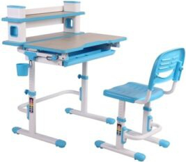 Set birou si scaun copii ergonomic reglabil in inaltime ErgoK ARIN Albastru