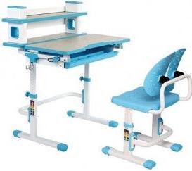 Set birou si scaun copii ergonomic reglabil in inaltime ErgoK TOSCA Albastru