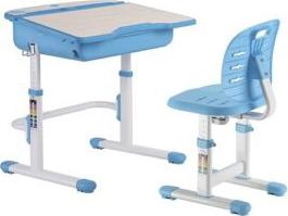 Set birou si scaun copii ergonomic reglabil in inaltime si spatar reglabil in adancime ErgoK ALMA Albastru