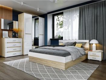 Set Dormitor KYM MDF cu Dulap Comoda Pat si Noptiere Sonoma + Alb Seturi mobila dormitor
