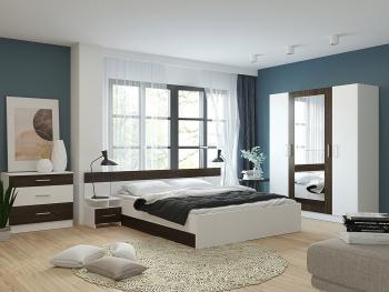 Set Dormitor LESI cu dulap 4 usi comoda pat si noptiere Alb + Wenge Seturi mobila dormitor
