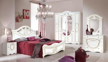 Set Dormitor ALEXANDRINA cu Dulap 4 Usi Comoda Pat si Noptiere MDF Alb / Auriu