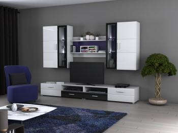 Biblioteca living CB WU-2600 culoare Alb/Negru Lucios Seturi mobila living