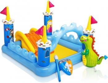 Piscina Gonflabila pentru copii cu tobogan Lumea cavalerilor capacitate 182 L Piscine
