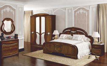 Set dormitor OLESIA cu dulap 4 usi comoda pat si noptiere MDF furniruit Nuc