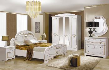 Set dormitor OLESIA cu dulap 4 usi comoda pat si noptiere MDF vopsit Alb Patinat