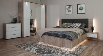 Set dormitor JULIA cu dulap 4 usi comoda pat si noptiere Stejar Craft/Alb