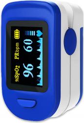 Pulsoximetru Mobile Tuning digital Indica nivelul de saturatie a oxigenului din sange Masoara rata pulsului albastru/alb