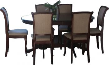 Set masa cu 6 scaune din lemn maro pentru living si bucatarie 150 cm