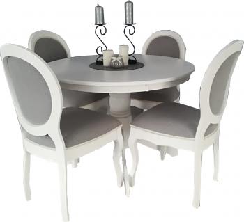 Set masa de bucatarie cu 4 scaune masa este extensibila are dimensiunile 106-141 cm confectionata din lemn