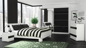 Dormitor Luca CB culoare Alb / Negru Seturi mobila dormitor