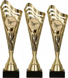 Set Personalizat 3 Cupe Columbofilie Porumbei Plastic Marmura 39.5 - 38.5 - 37.5 cm Cupe, trofee si medalii