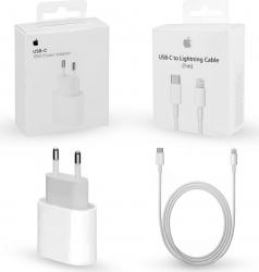 Pachet Original Apple incarcator de 18w fast charge si cablu de date/incarcare USB-C cu Lightning Apple retail box
