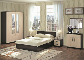 Set dormitor RONDO 2 cu dulap 4 usi comoda pat Wenge/Mesteacan Seturi mobila dormitor