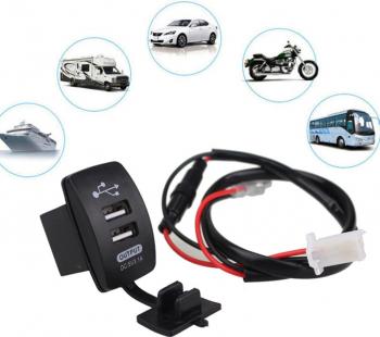 Mufa Priza dubla USB auto incorporabila cu fixare in bord 12V 24V la 5V 3.1 Sistem electric