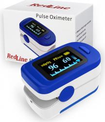 Pulsoximetru RedLine FS20C alb-albastru indica nivelul de saturatie a oxigenului masoara rata pulsului
