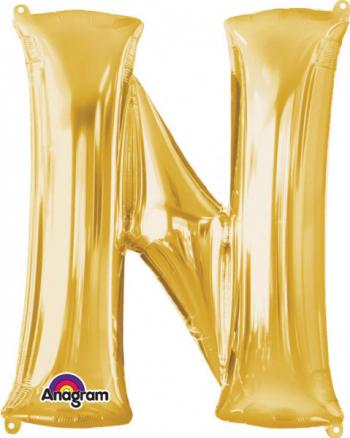 Balon folie litera N auriu 86 cm FTB024 - 23h Events