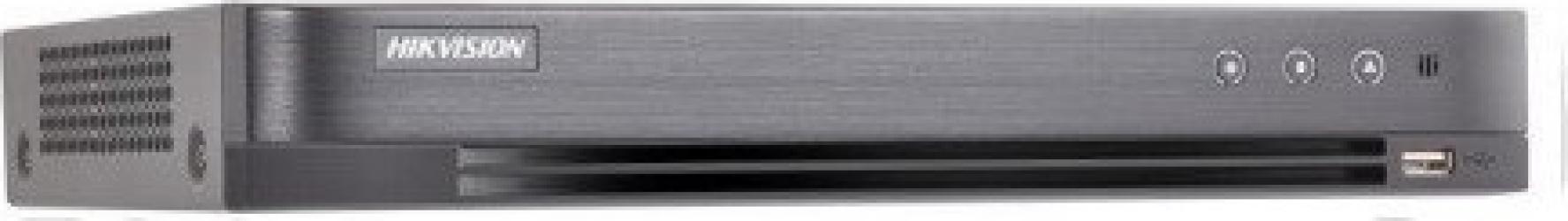 DVR 16 canale Turbo HD 3.0 Hikvision - DS-7216HQHI-F2/N/A/16 TVI/ AHD/ Analog + 2 camere IP de pana la 2MP 2xSATA