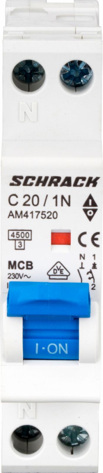 Intrerupator automat Schrack AMPARO AM417520-- 4 5kA 20A 1P+N 1modul