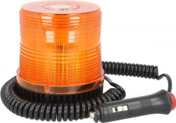 Girofar portocaliu 12/24V LED fixare magnetica cu fire 4m