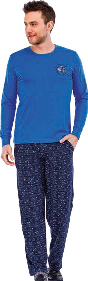 Pijama barbati maneca lunga 3727 Albastru L Pijamale barbati