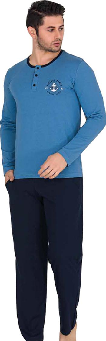 Pijama barbati maneca lunga 3823 Albastru S Pijamale barbati