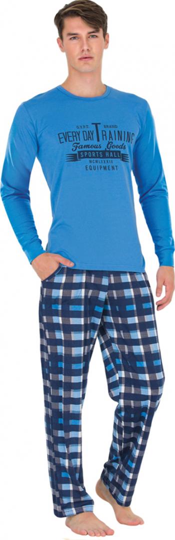 Pijama barbati mineca lunga 3728 Albastru S Pijamale barbati