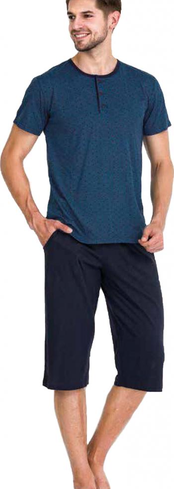 Pijama barbati maneca scurta 3752 Blue S Pijamale barbati