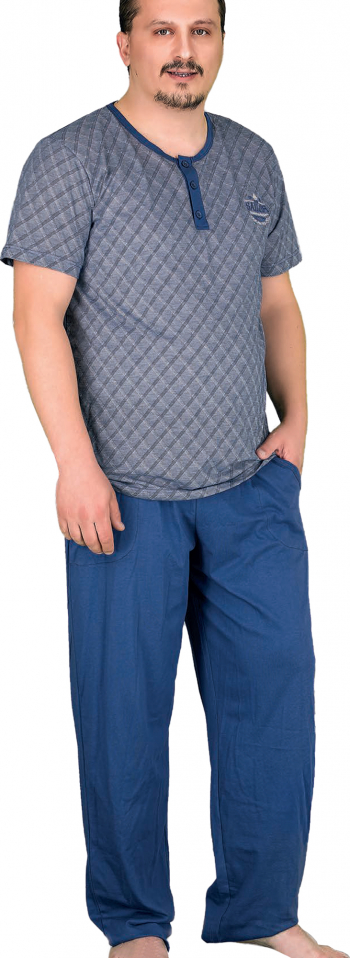 Pijama barbati maneca scurta 3799 MM Gri 2XL Pijamale barbati
