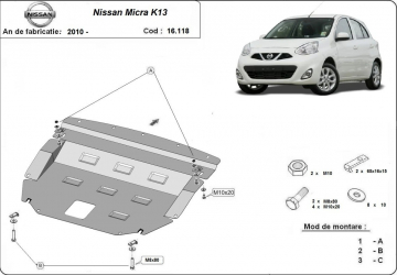 Scut auto metalic motor Nissan Micra / 2010- Scuturi auto