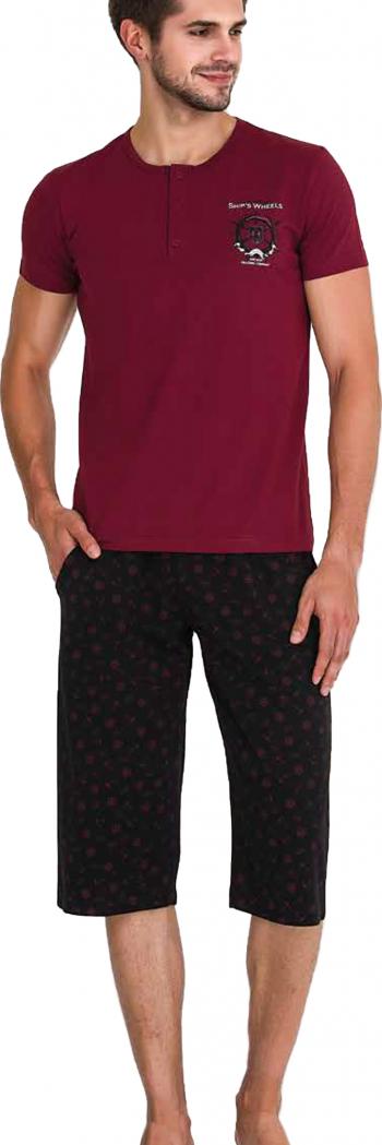 Pijama barbati maneca scurta 3738 Bordeaux XL Pijamale barbati